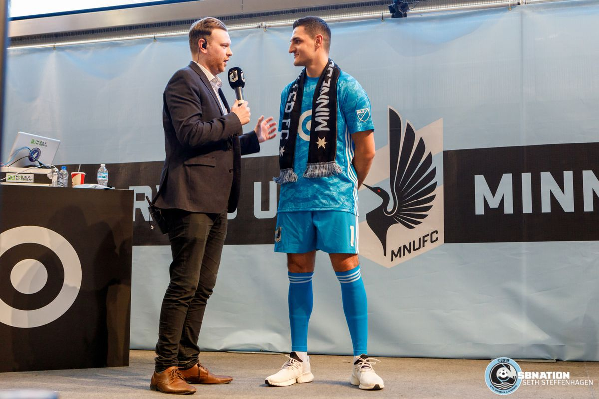 February 10, 2019 - Bloomington, Minnesota, United States - Newly signed Minnesota United goalkeeper Vito Mannone is interviewed by Callum Williams at the Minnesota United 2019 kit reveal at the Mall Of America.   (Photo by Seth Steffenhagen/Steffenhagen Photography)