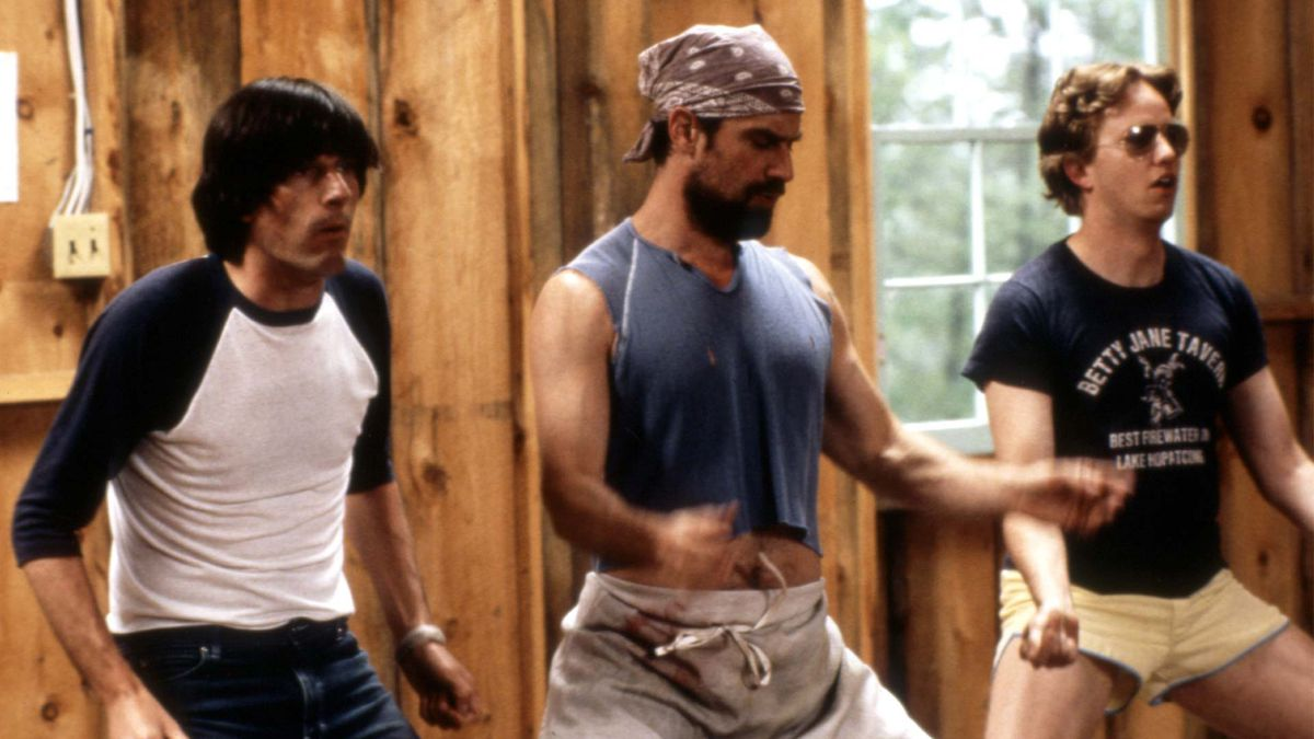 Michael Showalter, Christopher Meloni, and A.D. Miles in Wet Hot American Summer.
