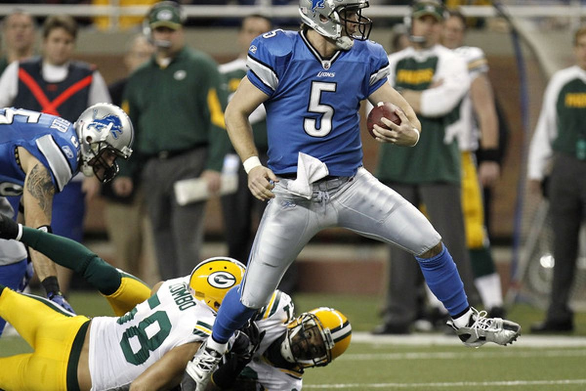 DETROIT MI - DECEMBER 12:  Drew Stanton #5 of the Detroit Lions tries to escape the tackle of Frank Zombo #58 of the Green Bay Packers on December 12 2010 at Ford Field in Detroit Michigan.  (Photo by Gregory Shamus/Getty Images)