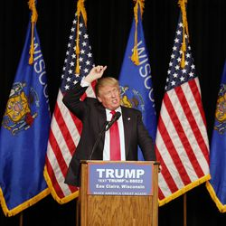 Republican presidential candidate Donald Trump speaks Saturday, April 2, 2016, during a campaign rally at Memorial High School in Eau Claire, Wis.