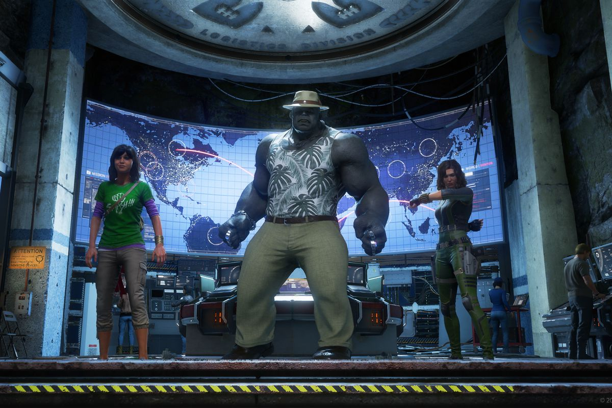 Ms. Marvel, Hulk, and Black Widow showing off custom outfits in Marvel's Avengers