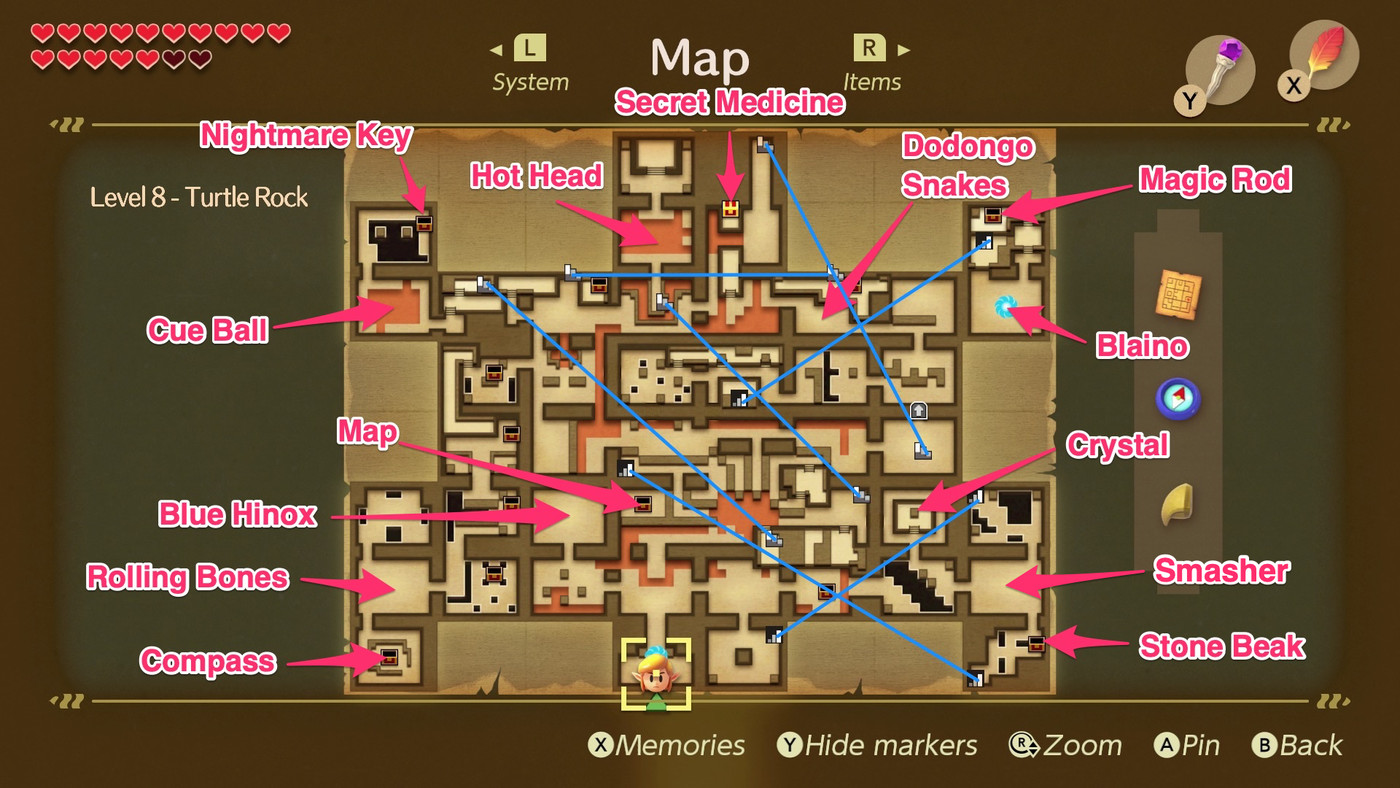 Link S Awakening Turtle Rock Walkthrough And Maps Polygon