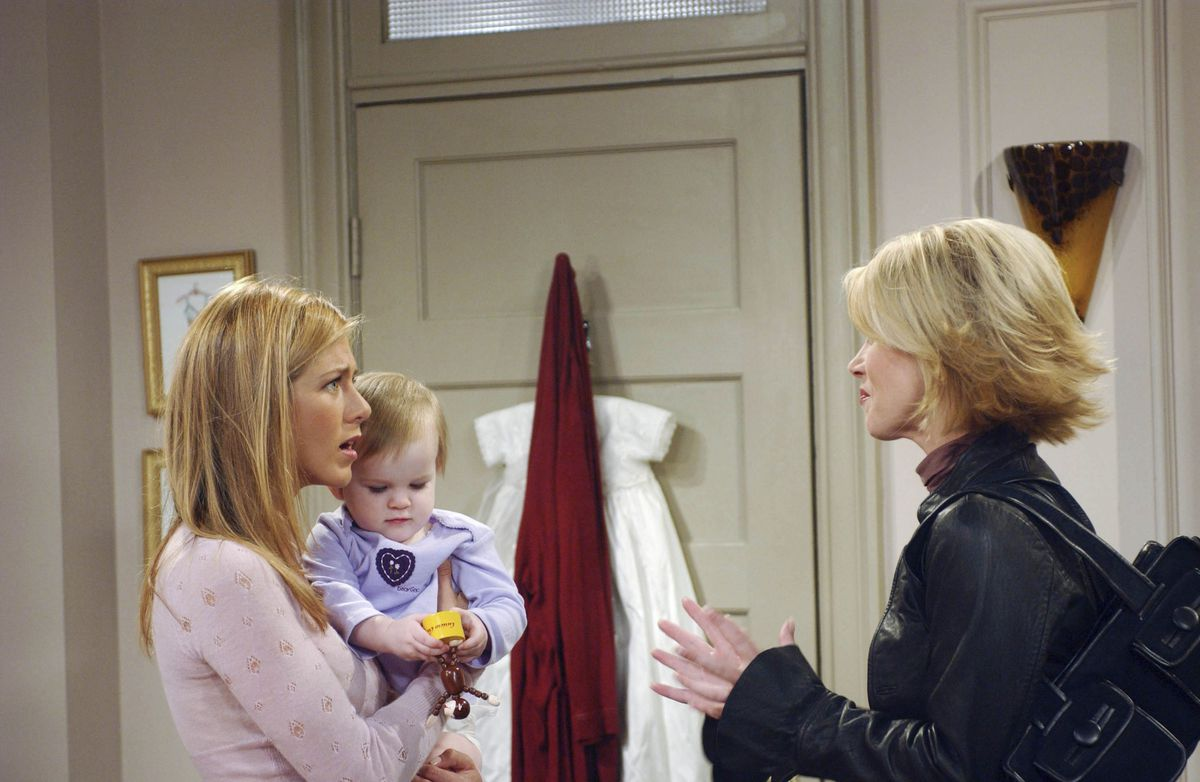 """Rachel (Jennifer Aniston) and Amy (Christina Applegate) in Friends episode """"The One Where Rachel's Sister Babysits."""""""