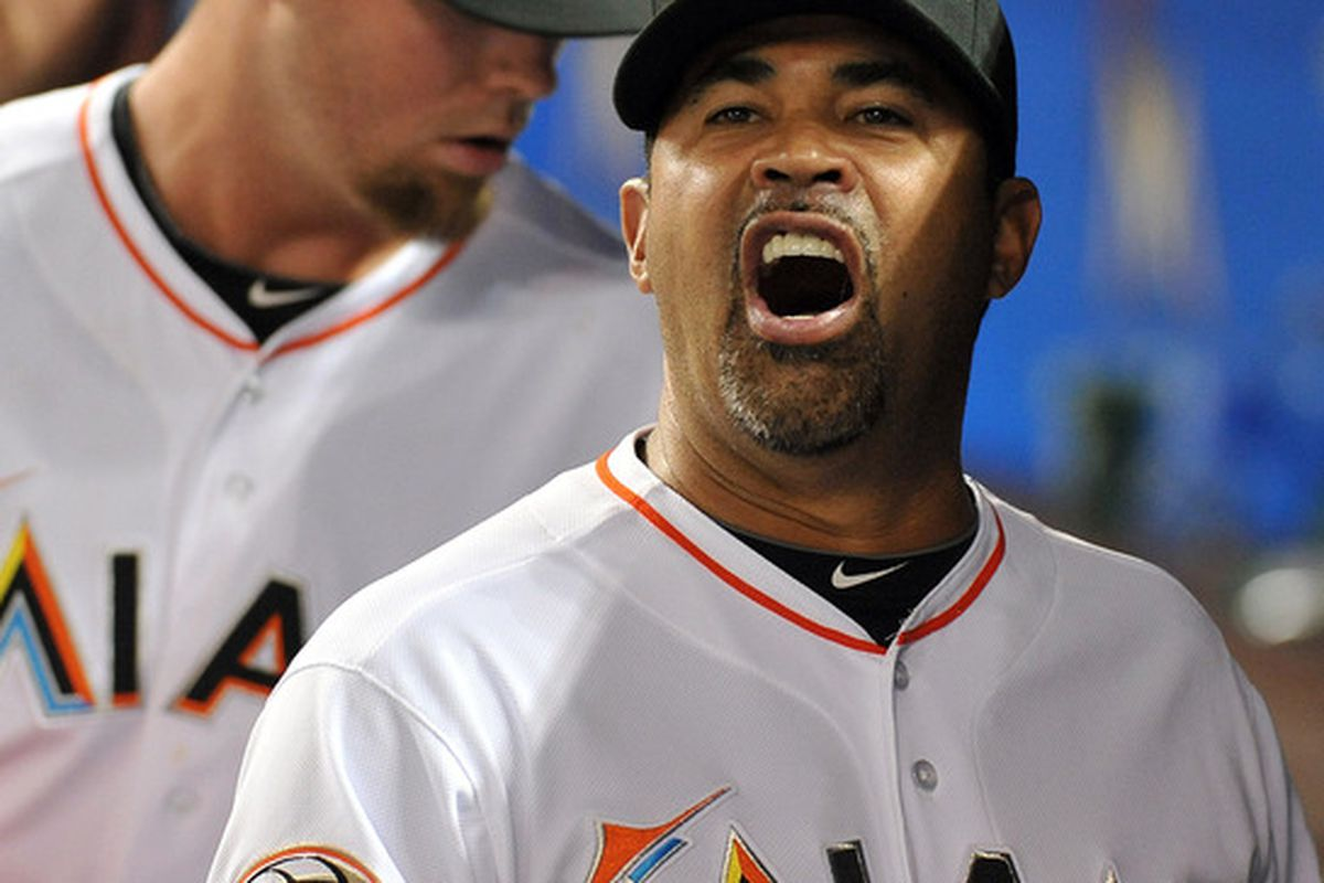 Write your own caption. What is Miami Marlins manager Ozzie Guillen saying after Wednesday's game against the Chicago Cubs at Marlins Park? Credit: Steve Mitchell-US PRESSWIRE