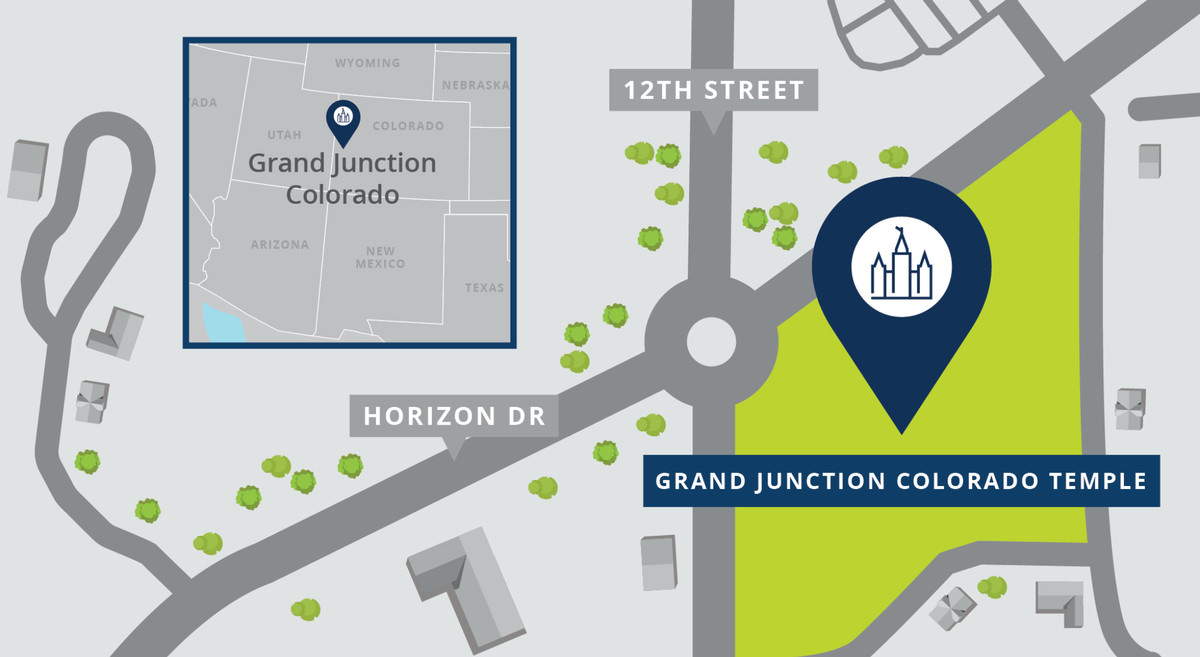 A map shows the location of the Grand Junction Colorado Temple.