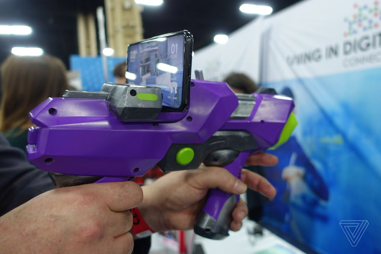 merge vr has made a nerf like gun that supports smartphone games