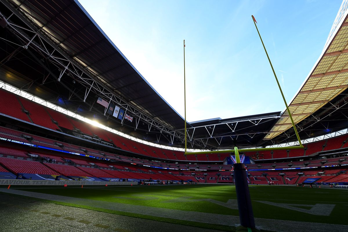 A general view inside the stadium prior to the NFL game between Cincinnati Bengals and Los Angeles Rams at Wembley Stadium on October 27, 2019 in London, England.