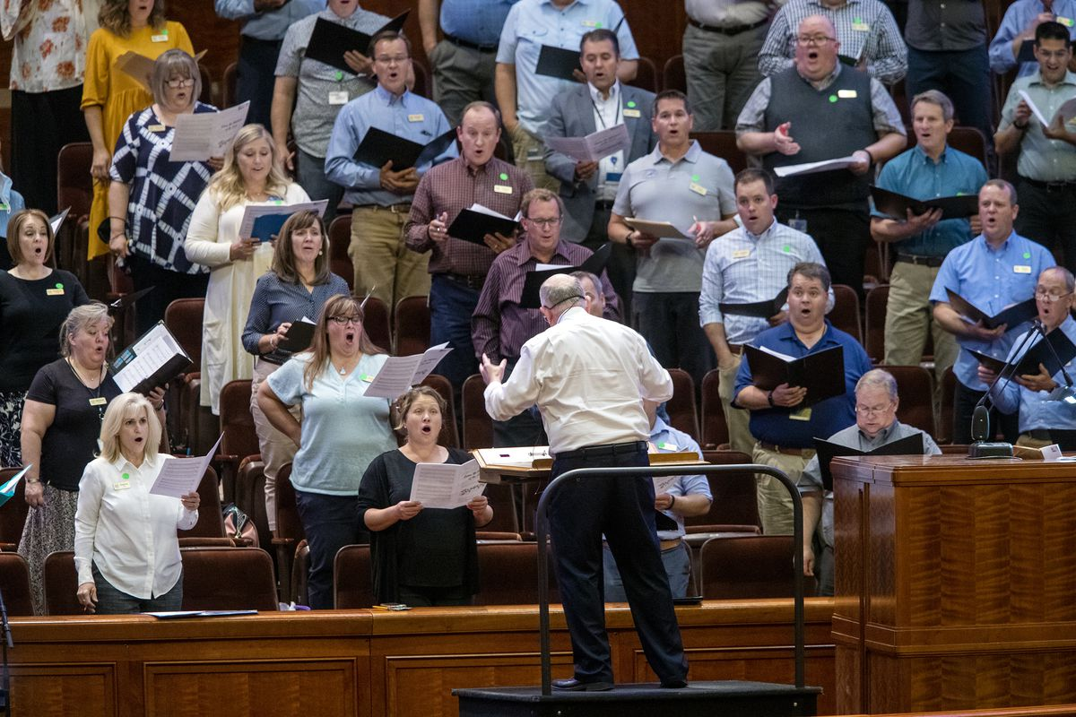 Tabernacle Choir at Temple Square Director Mack Wilberg gets to work as the choir rehearses at the Conference Center in Salt Lake City on Tuesday, Sept. 21, 2021. It was the choir's first rehearsal in more than 18 months.