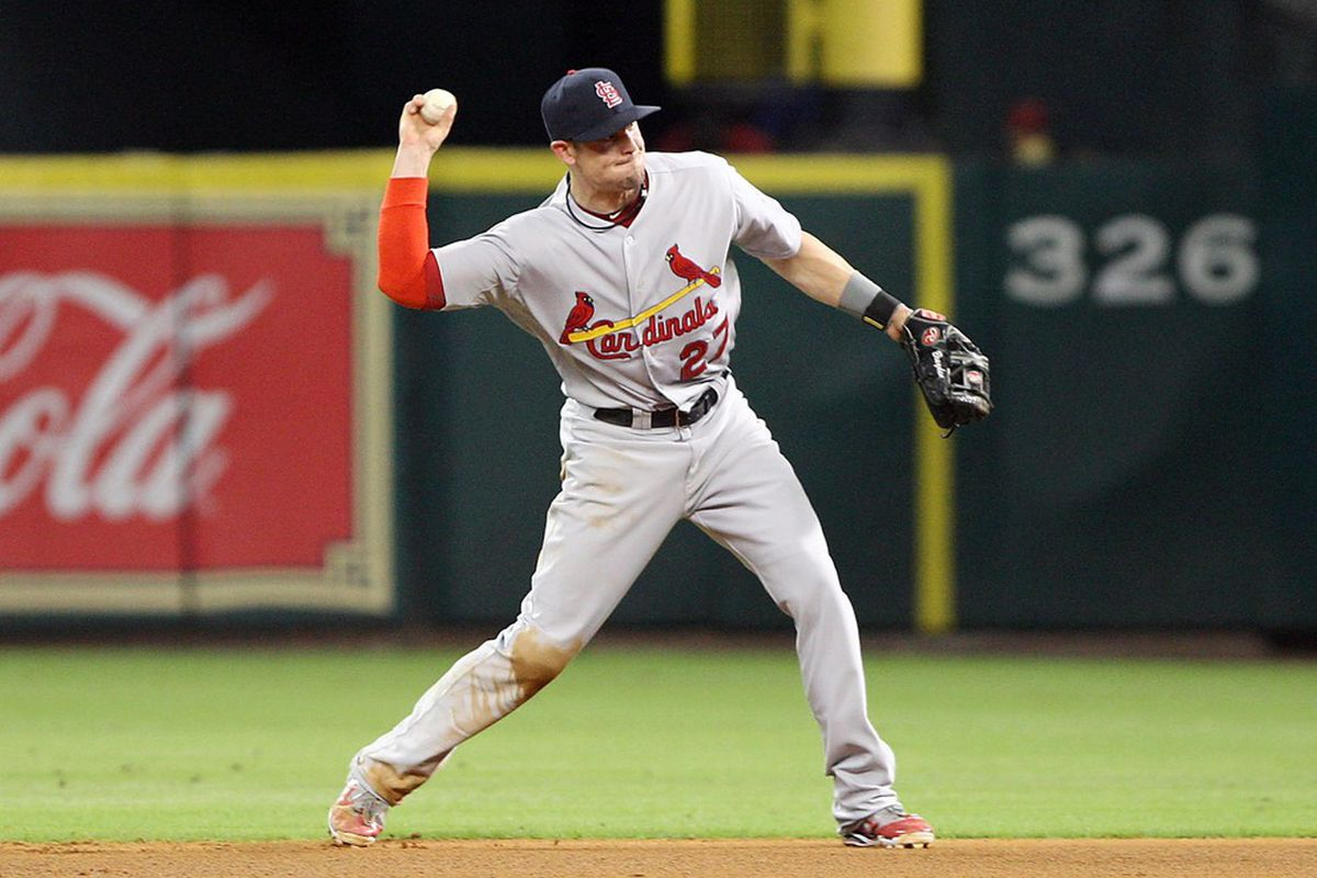 June 07, 2012; Houston, TX, USA; St. Louis Cardinals infielder Tyler Greene (27) throws to first base in the fourth inning against the Houston Astros at Minute Maid Park. Mandatory Credit: Troy Taormina-US PRESSWIRE