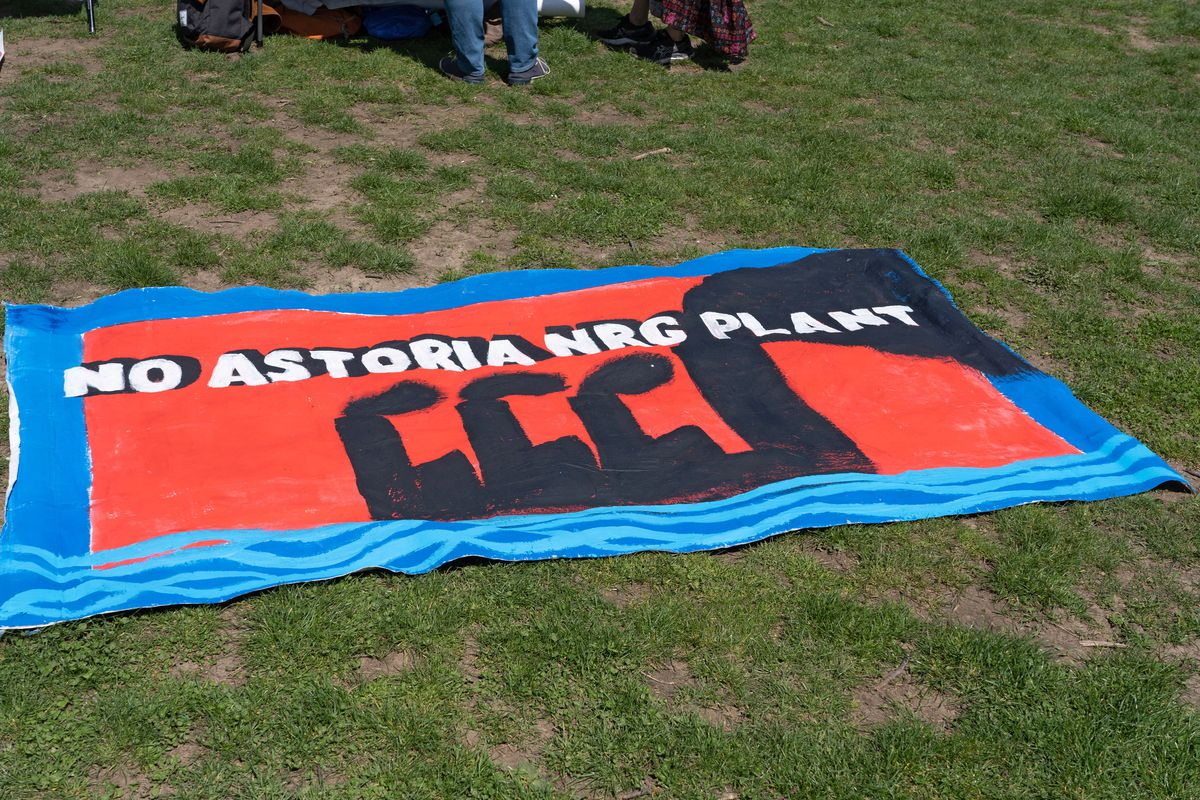 Environmental activists protested a proposed Astoria electrical plant during an Earth Day celebration in Queens, April 24, 2021.