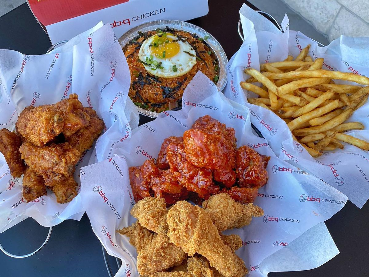 Baskets of Korean fried chicken and french fries