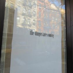 """""""The dinges are coming"""" to the corner of Avenue B and East Second. [Photo: <a href=""""http://evgrieve.com/2013/04/first-sign-of-wafels-dinges-on-avenue-b.html"""">EV Grieve</a>]"""