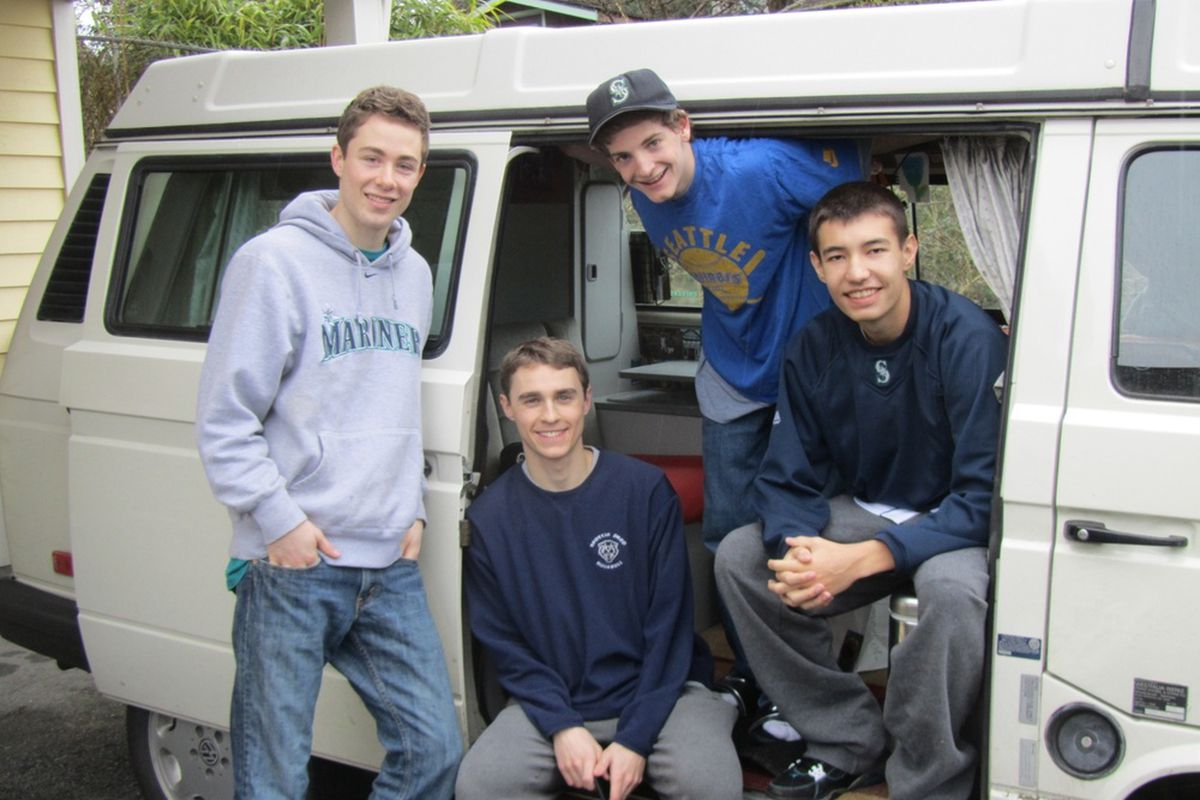 Jack Wilson, Travis Smith, Kellan Larson, Kendal Young (pictured left to right), will accumulate 13,697 miles on their road trip.