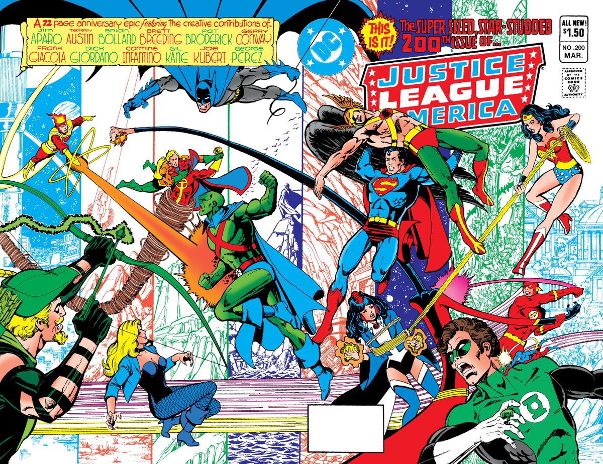The Justice League battles its own across the wrap around cover of Justice League of America #200, DC Comics (1982).