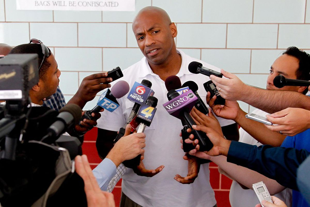 June 4, 2012; Westwego, LA, USA; New Orleans Hornets general manager Dell Demps talks to the media following a workout with NBA draft prospects at the Alario Center.  Mandatory Credit: Derick E. Hingle-US PRESSWIRE
