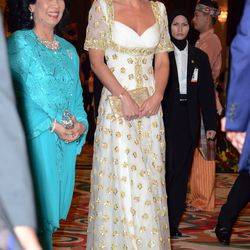 At an official dinner hosted by Malaysia's Head of State on September 13th, 2012 in a custom Alexander McQueen gown.