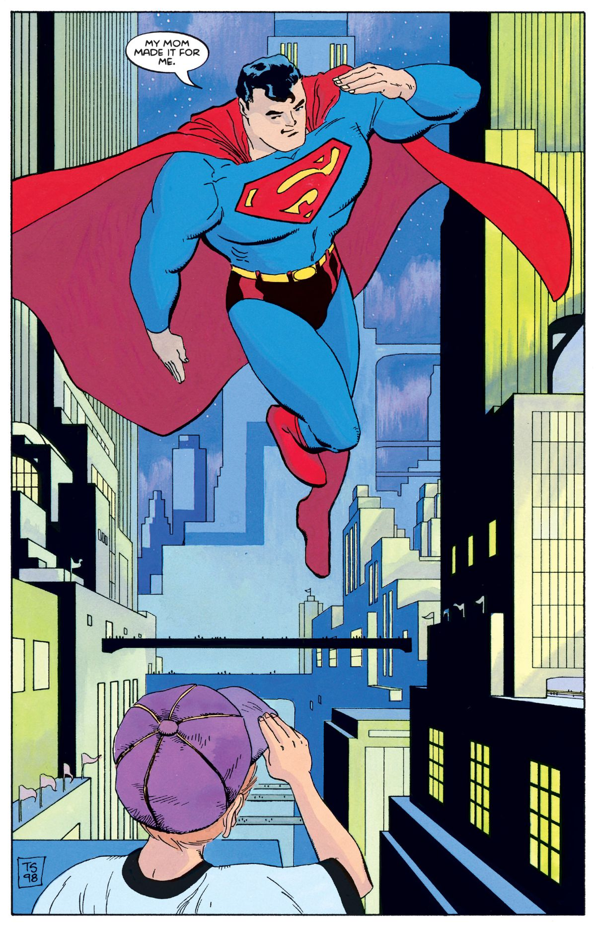 "Hovering in the air, Superman salutes a little boy. ""My mom made it for me,"" he says, in Superman For All Seasons #1, DC Comics (1998)."