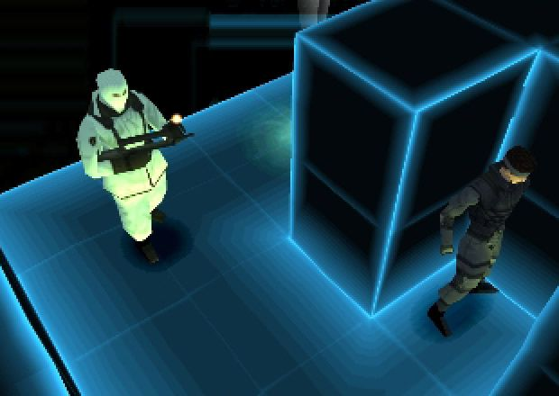 Metal Gear Solid: VR Missions - Snake hides around a corner from a soldier