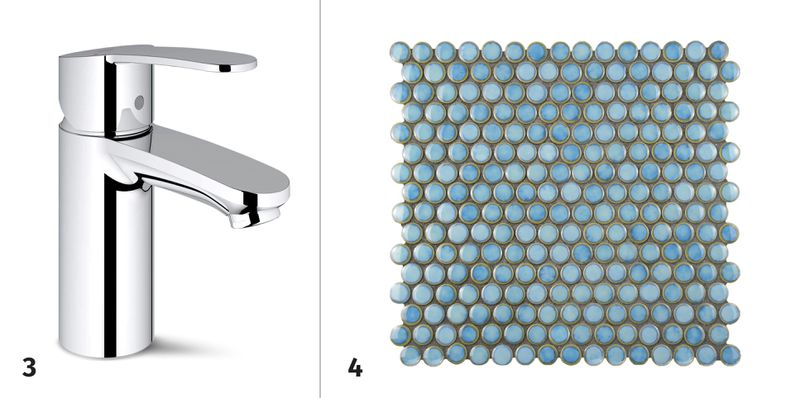 Summer 2021 Before & After Bath, faucet, tiles