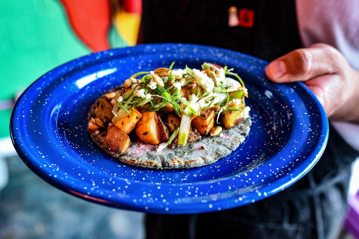 The roasted sweet potato taco at Nixta Taqueria