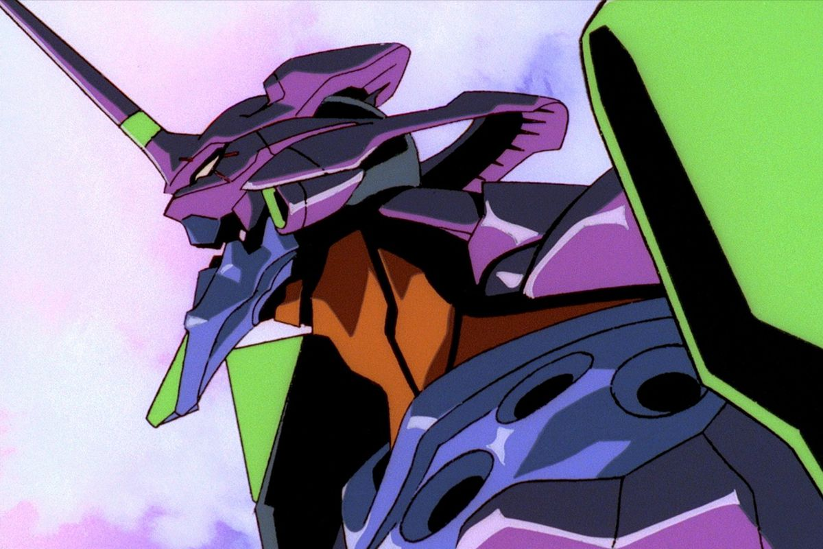 A close-up shot of the Eva Unit-01 from Neon Genesis Evangelion