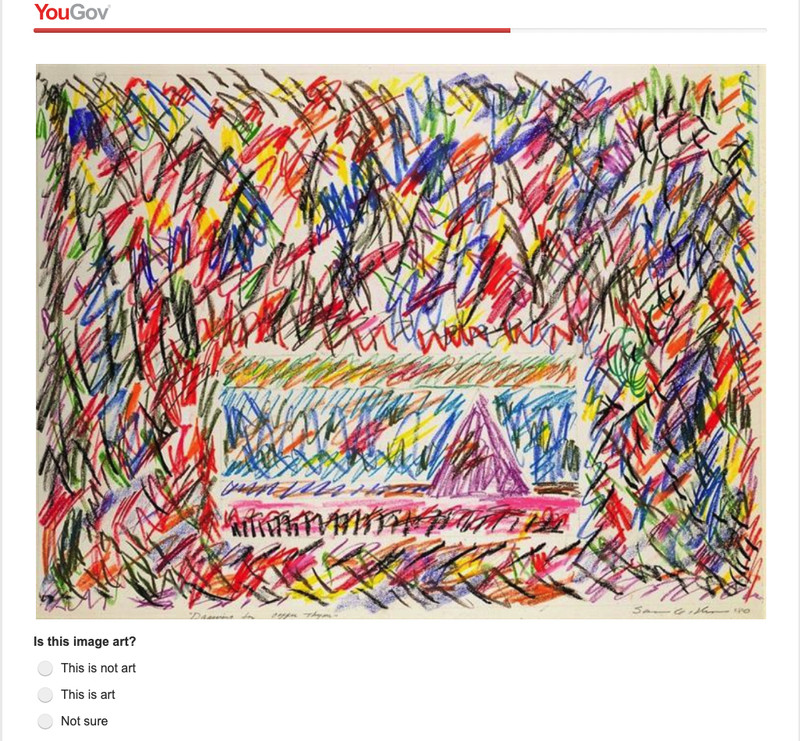An image of a poll question on a modernist painting with many colored crayon strokes.