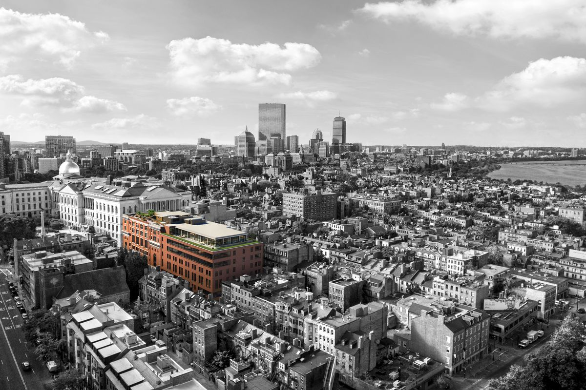 Rendering of a multi-story building from afar and amidst a cityscape.