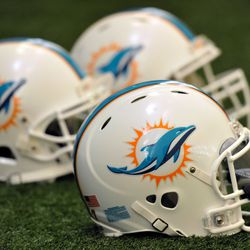 Jun 11, 2013; Davie, FL, USA; A detail shot of the Miami Dolphins helmets prior to their practice at the Doctors Hospital Training Facility at Nova Southeastern University.
