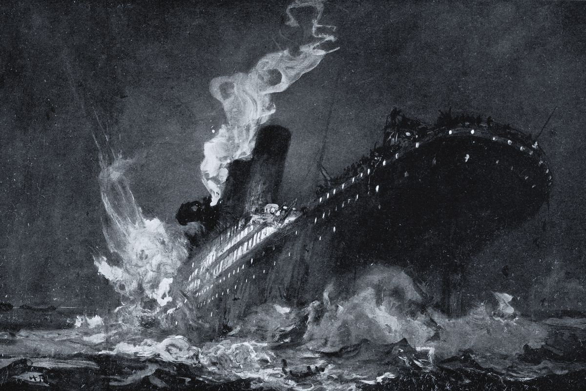 The 46,328 tons RMS Titanic of the White Star Line sinking around 2:20 AM Monday morning April 15 after hitting iceberg in North Atlantic from drawing by Henry Reuterdahl prepared from material supplied by survivors of the wreck...