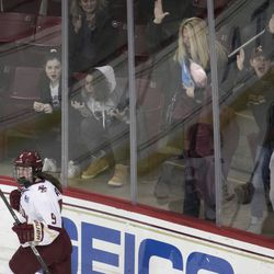 Boston College forward Daryl Watts celebrates her goal during the Beanpot Finals.