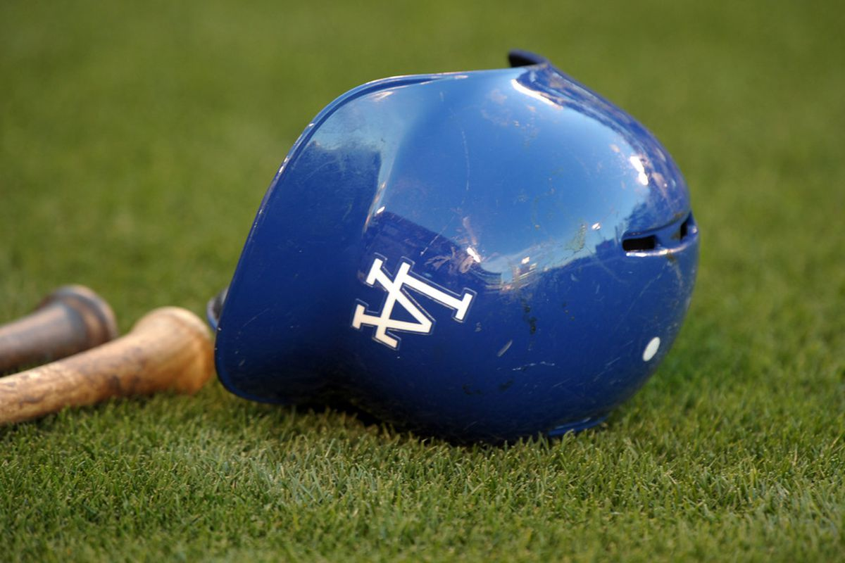 Apr 2, 2012; Anaheim, CA, USA; General view of a Los Angeles Dodgers batting helmet before the game against the Los Angeles Angels at Angel Stadium. Mandatory Credit: Kirby Lee/Image of Sport-US PRESSWIRE