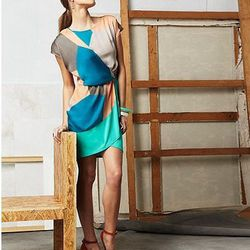 Geometric Printed Wrap Dress, $75.00
