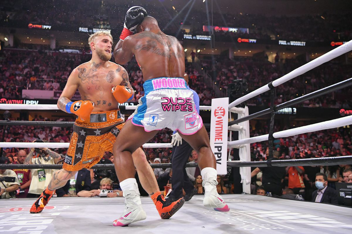 Jake Paul fights Tyron Woodley in their cruiserweight bout during a Showtime pay-per-view event at Rocket Morgage Fieldhouse on August 29, 2021 in Cleveland, Ohio.