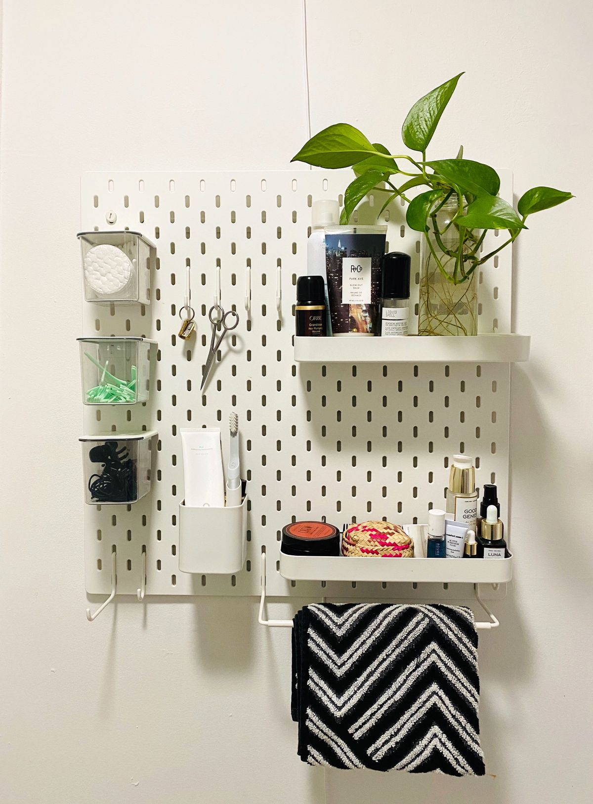 White pegboard with skincare items and plant.