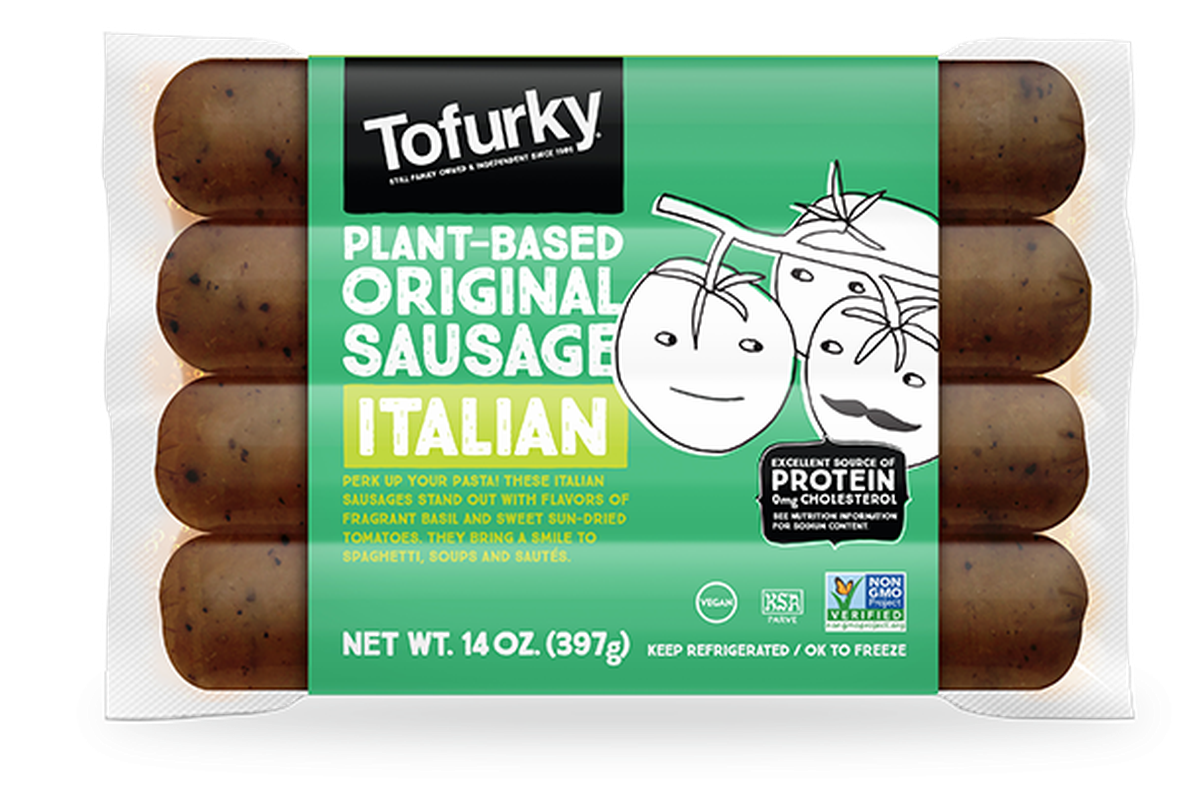 A package for Tofurky plant-based original Italian sausage, with a drawing of some tomatoes on the cover.