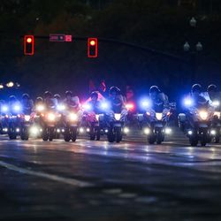 Motorcades arrives at Hotel Monaco before Vice President Mike Pence and Second Lady Karen Pence arrives in Salt Lake City on Monday, Oct. 5, 2020.