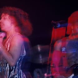 Being a blur of zebra print while performing at the Bottom Line in February 1980 in New York.