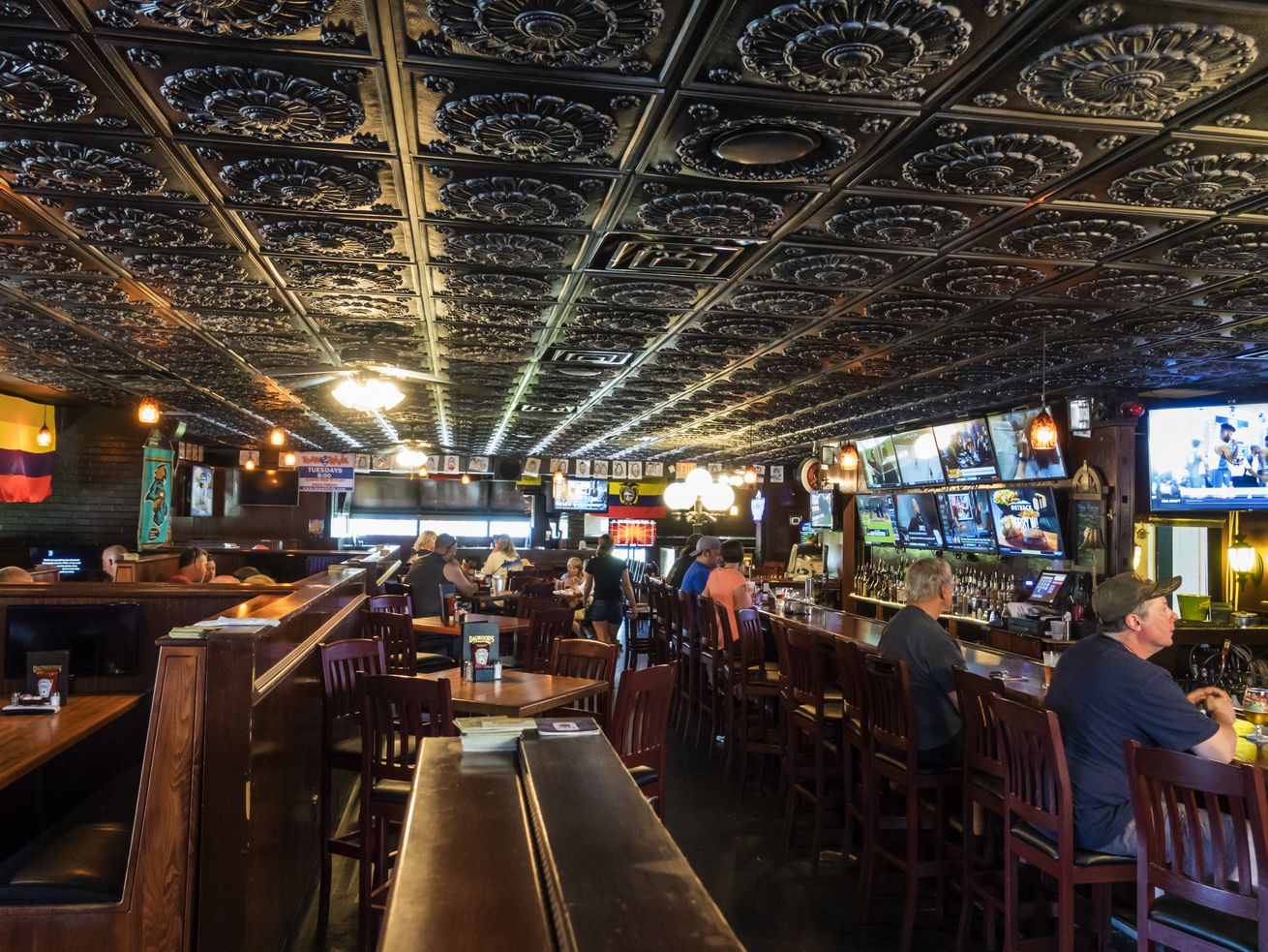 South Carolina, Myrtle Beach, Dagwood's Deli and Sports Bar, casual dining with tin metal tile ceiling