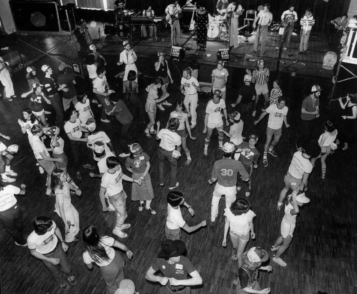 1978 Northwestern University Dance Marathon, inside Norris University Center.