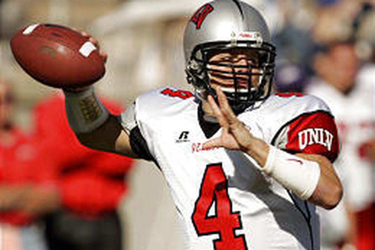 UNLV quarterback Jarrod Jackson looks to throw during the first half against Air Force in action earlier this year at Falcon Stadium.