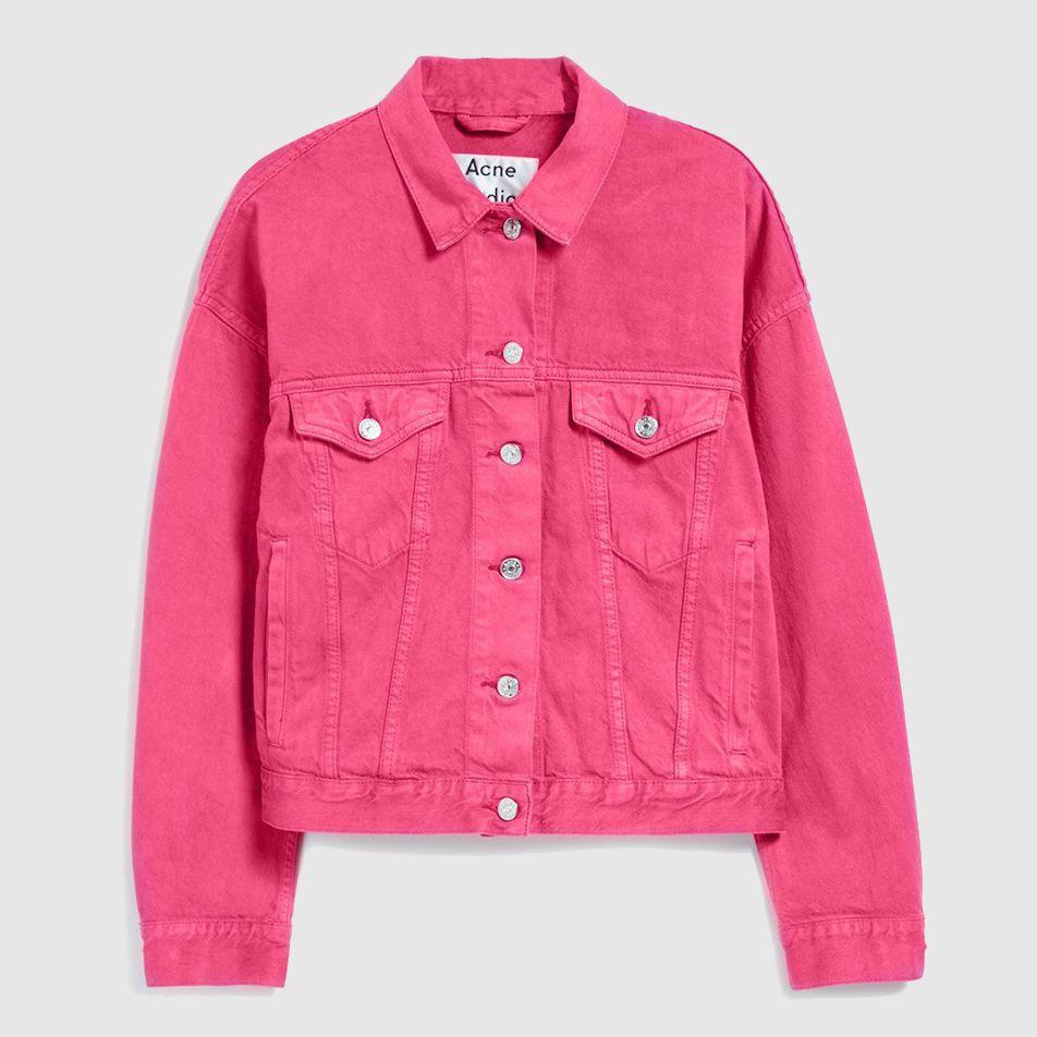 Hot pink denim jacket with light fade detailing.