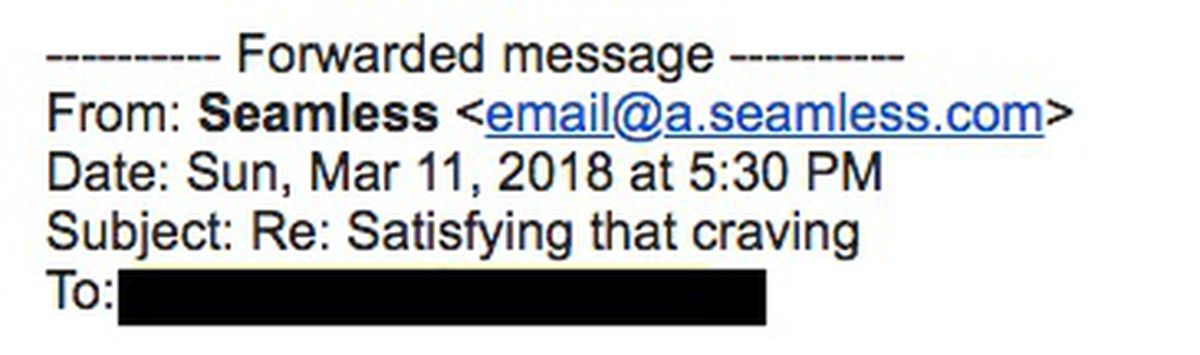 """A subject line that reads: """"Re: Satisfying that craving."""""""