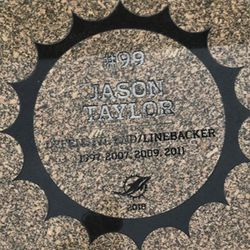 Jason Taylor granite stone in the Miami Dolphins Walk of Fame after being unveiled on December 2, 2018 in a ceremony in the Joe Robbie Alumni Plaza at Hard Rock Stadium, Miami Gardens, Florida.