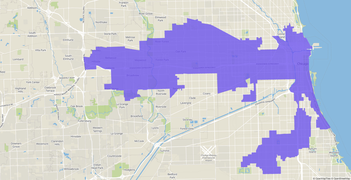 7th Congressional District map, U.S. House of Representatives, Illinois