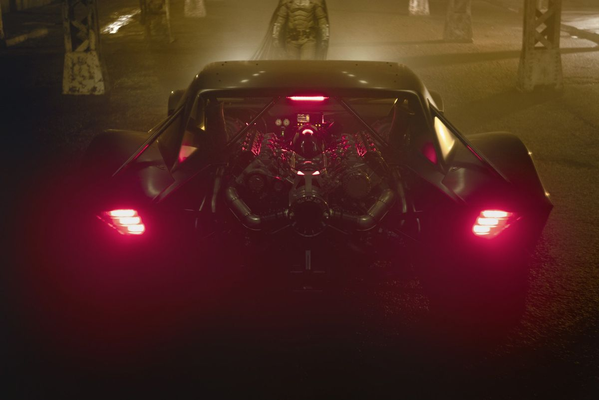 The rear of the new Batmobile from Matt Reeves' The Batman (2021).