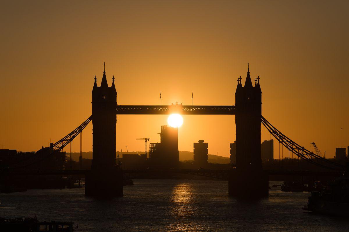 Sunrise Behind Tower Bridge In London