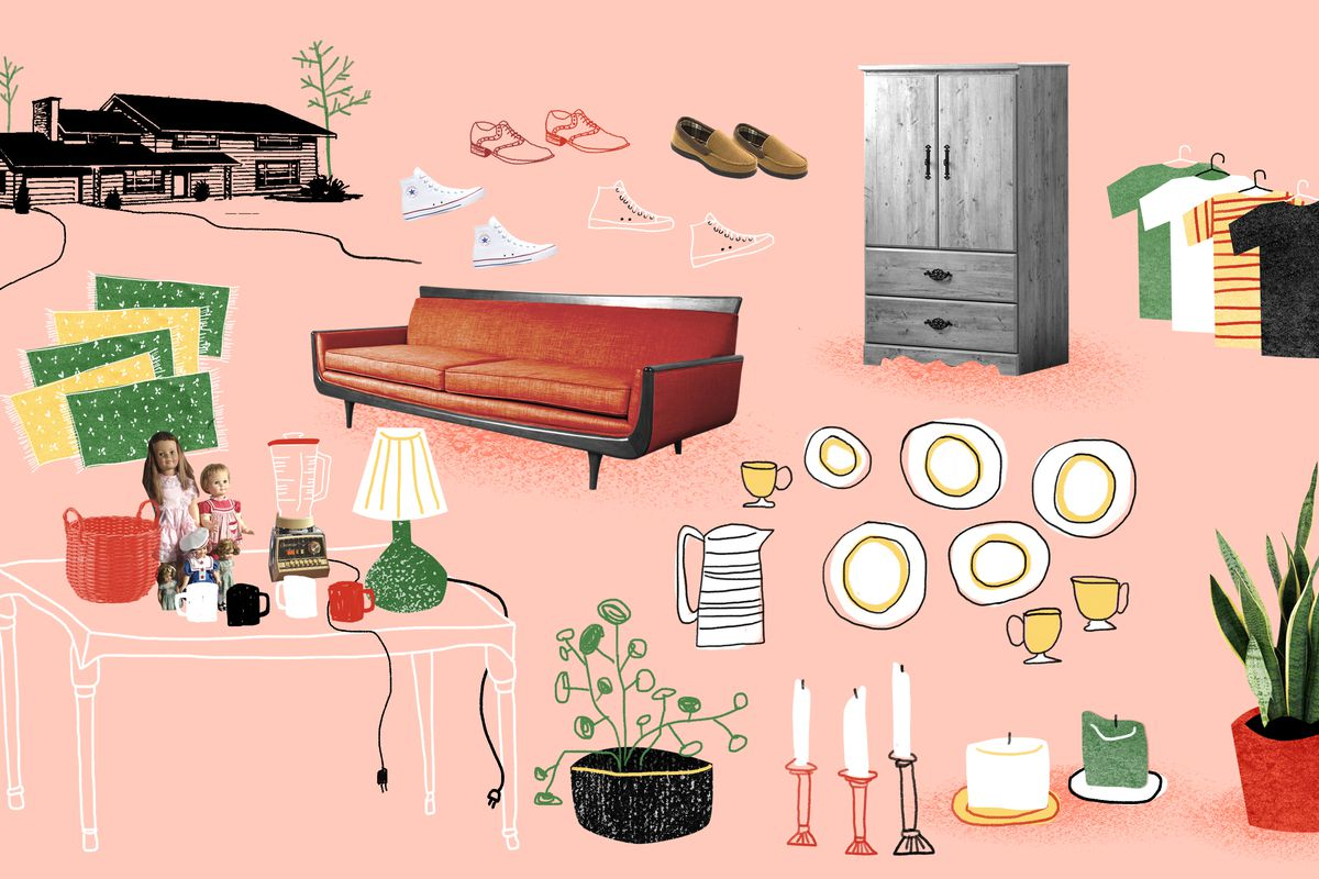 An illustration of a wooden house is in the upper left-hand corner. Cutouts of a desk, lamp, armoir, plates, candles, plants, T-shirts, and shoes are strewn throughout.