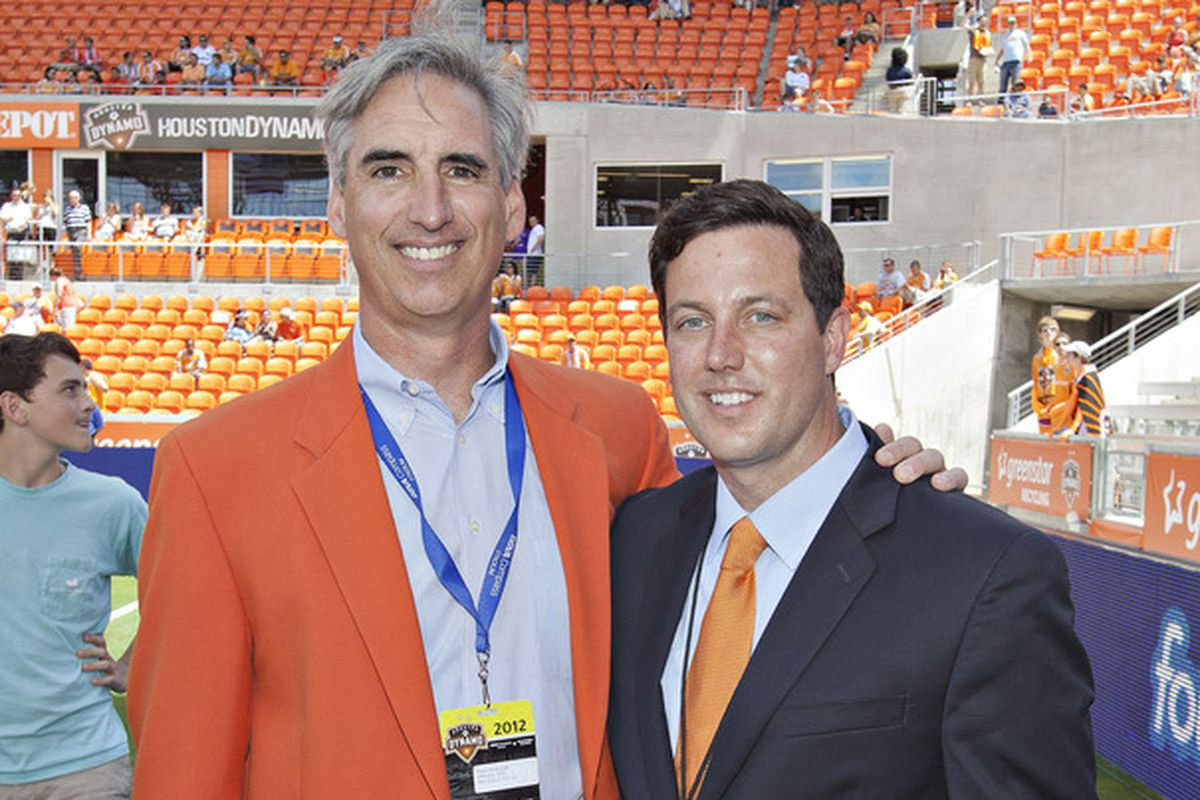 Houston Dynamo President Chris Canetti (right) unvelied the Dash, the first NWSL expansion team, on Thursday