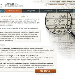 This screen grab taken on Monday, April 2, 2012, shows the page for the 1940 Census on the National Archives website. Interest in the newly released 1940 U.S. census is so great that the government website with the information was nearly paralyzed on Monday, April 02, 2012, shortly after the records became available to the public for the first time.