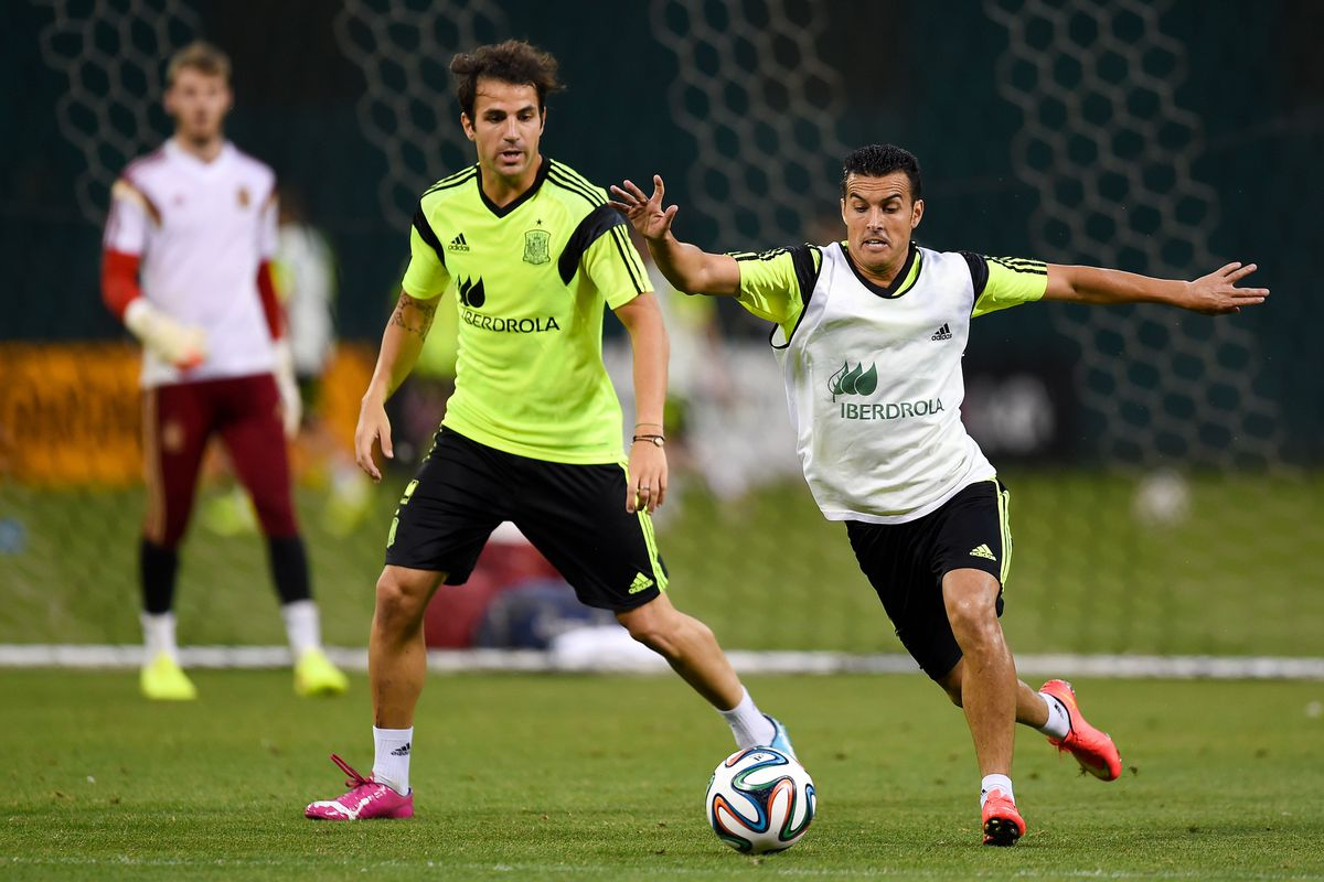 Pedro really doesn't want Fabregas to leave...